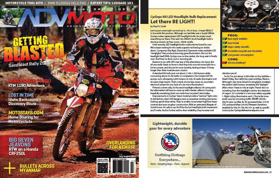 Cyclops in ADV Moto Magazine